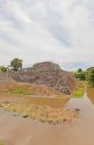 A fundação do cano principal mantém-se do castelo de Yamato Koriyama, Japão Imagem de Stock Royalty Free