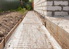 Fundação que waterproofing, barreira do vapor Casa nova de construção Fotografia de Stock