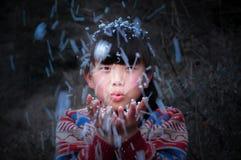 Funda a criança rural asiática engraçada imagens de stock royalty free