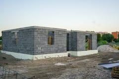 Fundación concreta de una nueva casa, construcción de la pared Fotografía de archivo libre de regalías