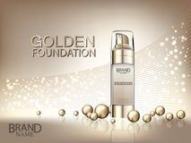Fundación cosmética del oro de los anuncios con las bolas del oro en fondo abstracto brillante Foto de archivo libre de regalías