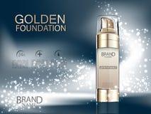 Fundación cosmética del oro de los anuncios con las bolas del oro en fondo abstracto oscuro brillante Haga frente al cuidado, al  Imágenes de archivo libres de regalías