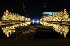 Fundación de Stavros Niarchos adornada con las luces de la Navidad Fotografía de archivo