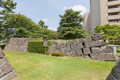 Fundament av den tidigare mindre donjonen av den Fukui slotten i Fukui, Japa Royaltyfri Bild