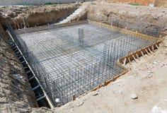 Fundament av ett nytt hus Arkivfoton