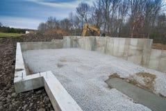 Fundament för nytt hus Arkivfoto