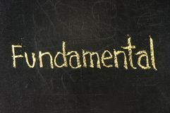 Fundamental. Stock Exchange word Fundamental  made with chalk on a blackboard Royalty Free Stock Photos