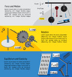 Fundamental Physics and engineering subject chapter. About force, motion, rotation, equilibrium and elasticity theory and formula infographic banner template Royalty Free Stock Image