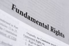 Fundamental Rights printed in book with large letters stock images