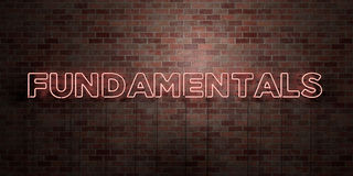 FUNDAMENTALS - fluorescent Neon tube Sign on brickwork - Front view - 3D rendered royalty free stock picture Royalty Free Stock Photos