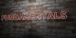 FUNDAMENTALS - Glowing Neon Sign on stonework wall - 3D rendered royalty free stock illustration Royalty Free Stock Image