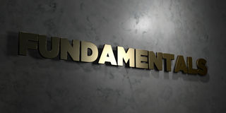 Fundamentals - Gold text on black background - 3D rendered royalty free stock picture Royalty Free Stock Photos