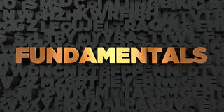 Fundamentals - Gold text on black background - 3D rendered royalty free stock picture Royalty Free Stock Photography