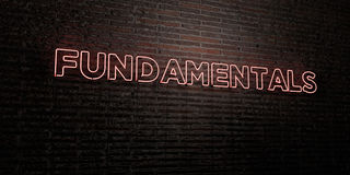 FUNDAMENTALS -Realistic Neon Sign on Brick Wall background - 3D rendered royalty free stock image Stock Photos