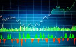 Fundamenteel en technisch analyseconcept Markt het handelscherm Effectenbeursgrafiek, grafiek op blauwe achtergrond stock foto