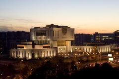 Fundamentele Bibliotheek op de Universiteit van de Staat van Moskou stock afbeelding