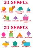 Fundamentele 3d en 2d vormen met beeldverhaaldieren voor kleuters stock illustratie