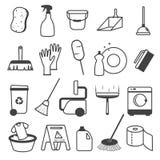 Fundamentele Schoonmakende Geplaatste Hulpmiddelenpictogrammen vector illustratie