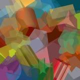 Fundamentele tweede vormen uitgedreven en willekeurig distributer, overlappend, in transparant patroon Stock Afbeelding