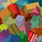 Fundamentele tweede vormen uitgedreven en willekeurig distributer, overlappend, in transparant patroon Stock Afbeeldingen