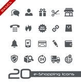 Fundamentos de //de los iconos de las E-compras Imágenes de archivo libres de regalías