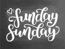 Funday Niedziela Ręka rysujący literowanie Typograficzna wycena Ręka rysujący literowanie Biała ręka rysujący szczotkarscy atrame Zdjęcia Stock