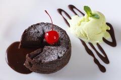 Fundente do chocolate e close up do gelado vista superior horizontal Fotografia de Stock