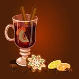 Funderad vin- och pepparkakajulkaka, dekorerad isläggning vektor illustrationer