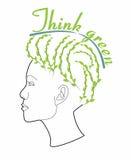 Funderaren gör grön - kvinnlign med frisyren Arkivfoto