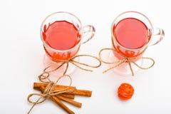 Funderat vin eller varm dryck i exponeringsglas med garnering och kanelbruna pinnar Varmt drinkbegrepp Exponeringsglas med funder Fotografering för Bildbyråer