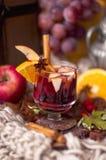 Funderat vin med frukter och citruns, smaklig vinterdrink arkivfoton