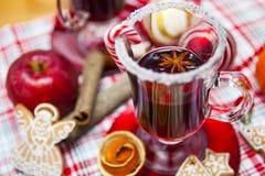 Funderat vin med kryddor och pepparkakakakor Arkivbild