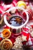 Funderat vin med kryddor och pepparkakakakor Royaltyfri Bild
