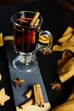Funderat vin med kryddor på en mörk bakgrund Fotografering för Bildbyråer
