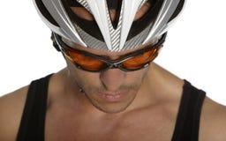 Fundersam cyklist Arkivfoto