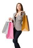 Fundersam elegant ung shoppare. Royaltyfri Foto