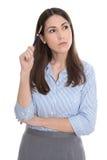 Fundersam isolerad affärskvinna på vit. arkivbilder