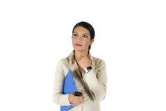 fundersam kvinna för affär Royaltyfri Foto