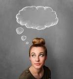 Fundersam kvinna med molnet ovanför hennes huvud fotografering för bildbyråer