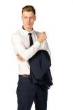 Fundersam ung affärsman som isoleras på vit Royaltyfri Bild