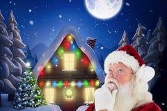 Fundersamma Santa Claus mot digitalt frambragd bakgrund royaltyfri fotografi