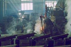 Fundição do metal em Letónia Foto do curso Imagem de Stock Royalty Free