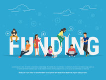 Funding concept illustration. Funding illustration of young people using laptop, tablet pc and smartphone for online funding new startup or making donation for Royalty Free Stock Photography