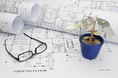 Funding the dream house construction project. Using a money tree. Symbolizes an optimistic funding approach royalty free stock photos
