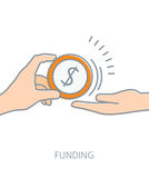Funding flat line icon concept Royalty Free Stock Photography