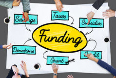 Funding Grant Donation Diagram Concept. People Discussing Funding Grant Donation Stock Photo