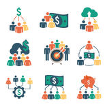 Funding Icons. People Working Together to Fund Different Online Ideas with Mone Royalty Free Stock Photography