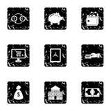 Funding icons set, grunge style Royalty Free Stock Image