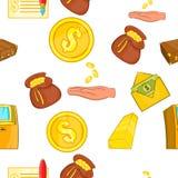 Funding pattern, cartoon style. Funding pattern. Cartoon illustration of funding vector pattern for web Stock Photos