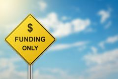 Funding on road sign stock photo